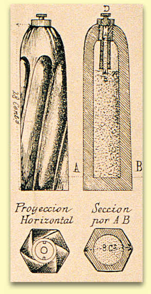 133. View and cross-section of a grenade from a Whitworth cannon. It was hexagonal in section and contained a gunpowder charge detonated by a fuse.© Martín Izagirre